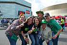 Apr 7, 2013; Irish fans enjoy the festivities outside the New Orleans Arena prior to the Women's Final Four tournament. Photo by Barbara Johnston/ University of Notre Dame of Notre Dame
