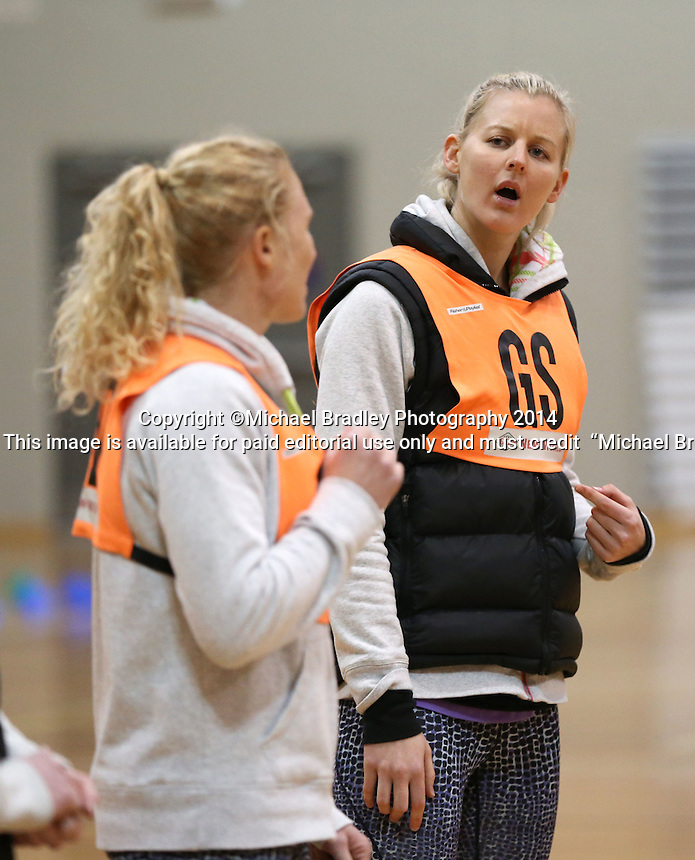 03.07.2014 Silver Fern Laura Langman and Katrina Grant in action during the Silver Ferns netball training session at the AUT in Auckland. Mandatory Photo Credit ©Michael Bradley.