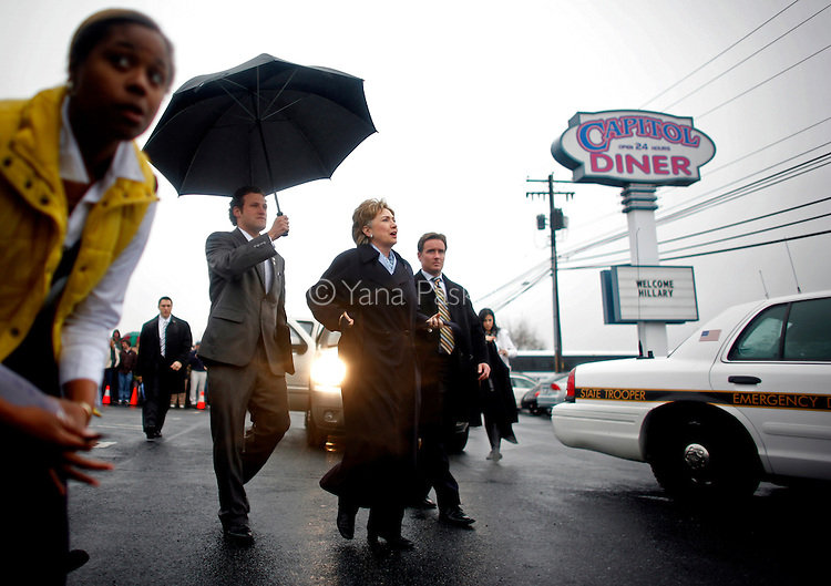 U.S. Presidential hopeful Hillary Clinton (D-NY) arrives to a roundtable discussion at the Capitol Diner in Harrisburg, Pennsylvania, on Monday, March 31, 2008. The Senator is hoping to woo crucial to her votes in the state before its primary on April 22, 2008. (Photograph by Yana Paskova for Newsweek)