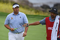 Kiradech Aphibarnrat (THA) after sinking his putt on 9 during round 1 of the 2019 US Open, Pebble Beach Golf Links, Monterrey, California, USA. 6/13/2019.<br /> Picture: Golffile | Ken Murray<br /> <br /> All photo usage must carry mandatory copyright credit (© Golffile | Ken Murray)