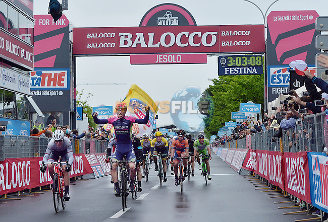 Sacha Modolo (ITA) Lampre-Merida wins a very wet Stage 13 of the 98th Giro d'Italia 2015 running 147km from Montecchio Maggiore to Jesolo. 22nd May 2015. <br /> Photo: ANSA/Luca Zennaro/www.newsfile.ie