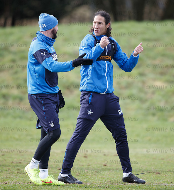 Kris Boyd and Belil Mohsni trying to understand Kenny Black's new training methods