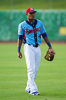 Tennessee Smokies shortstop Addison Russell (4) warms up in the outfield prior to the game against the Mississippi Braves at Smokies Park on July 22, 2014 in Kodak, Tennessee.  The Smokies defeated the Braves 8-7 in 10 innings. (Brian Westerholt/Four Seam Images)