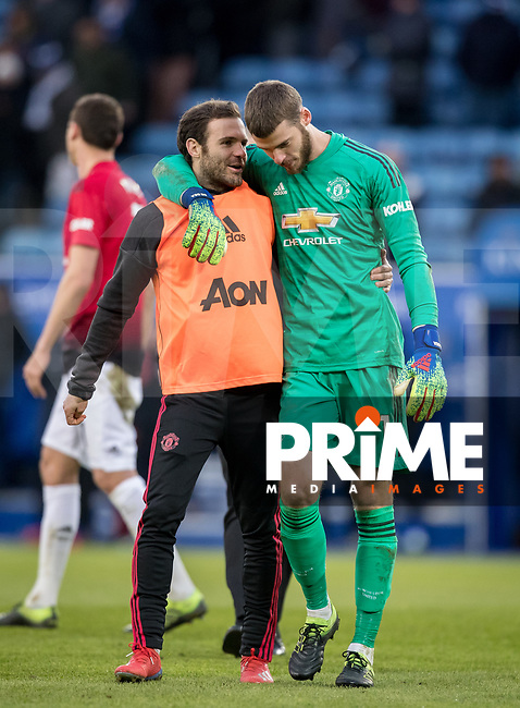 Goalkeeper David De Gea of Man Utd with Juan Mata of Man Utd at Fulham time during the Premier League match between Leicester City and Manchester United at the King Power Stadium, Leicester, England on 3 February 2019. Photo by Andy Rowland.