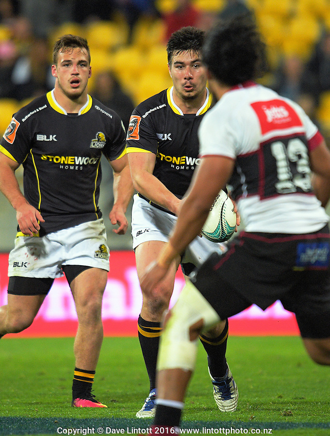 Jackson Garden-Bachop in action during the Mitre 10 Cup rugby union match between Wellington Lions and North Harbour at Westpac Stadium, Wellington, New Zealand on Saturday, 3 September 2016. Photo: Dave Lintott / lintottphoto.co.nz