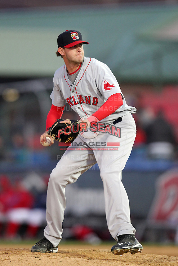 Portland Seadogs pitcher Michael Lee #48 during a game against the Reading Phillies at FirstEnergy Stadium on April 7, 2012 in Reading, Pennsylvania.  Reading defeated Portland 4-1.  (Mike Janes/Four Seam Images)