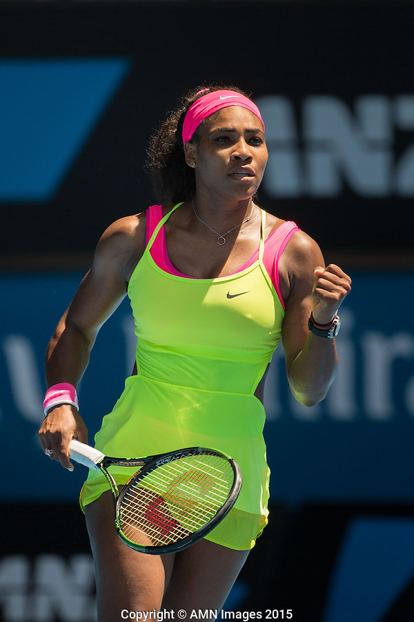 Serena Williams (USA)<br /> <br /> Tennis - Australian Open 2015 - Grand Slam -  Melbourne Park - Melbourne - Victoria - Australia  - 24 January 2015. <br /> &copy; AMN IMAGES