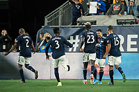 FOXBOROUGH, MA - SEPTEMBER 29: Gustavo Bao #7 of New England Revolution celebrates his goal with his teammates during a game between New York City FC and New England Revolution at Gillettes Stadium on September 29, 2019 in Foxborough, Massachusetts.