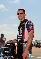 Apr. 29, 2012; Baytown, TX, USA: NHRA pro stock motorcycle rider Eddie Krawiec  during the Spring Nationals at Royal Purple Raceway. Mandatory Credit: Mark J. Rebilas-