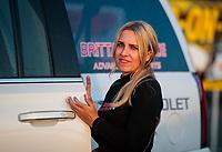May 3, 2019; Commerce, GA, USA; NHRA top fuel driver Brittany Force during qualifying for the Southern Nationals at Atlanta Dragway. Mandatory Credit: Mark J. Rebilas-USA TODAY Sports