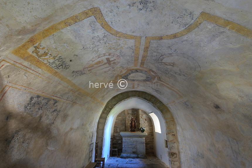 France, Haute-Vienne (87), le Chalard, église de l'Assomption, la chapelle souterraine // France, Haute Vienne, le Chalard, Assomption church, underground chapel