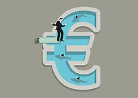 Businessman balancing on diving board above shark infested euro shaped swimming pool