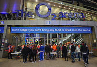 Fans queue up to go through security as they make their way into the O2 during Day One of the Barclays ATP World Tour Finals 2015 played at The O2, London on November 15th 2015