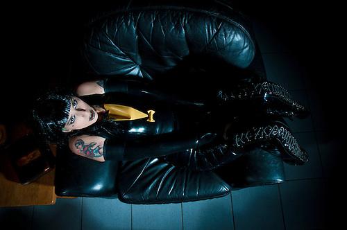 Fetish latex studio shoot, modeled by Fran Love,  http://www.facebook.com/pages/MissFranLove/292525650814304?fref=ts  .Costumes by Savage Wear Berlin, www.SAVAGE-WEAR.com.Photo photo assistant, Jen Prinz http://www.facebook.com/jennyleerzeichen?fref=ts