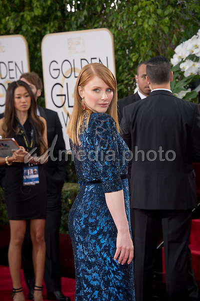 Presenter Bryce Dallas Howard arrives at the 73rd Annual Golden Globe Awards at the Beverly Hilton in Beverly Hills, CA on Sunday, January 10, 2016. Photo Credit: HFPA/AdMedia