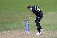 Mitchell Santner (New Zealand) fails to collect with the batsman stranded during West Indies vs New Zealand, ICC World Cup Warm-Up Match Cricket at the Bristol County Ground on 28th May 2019