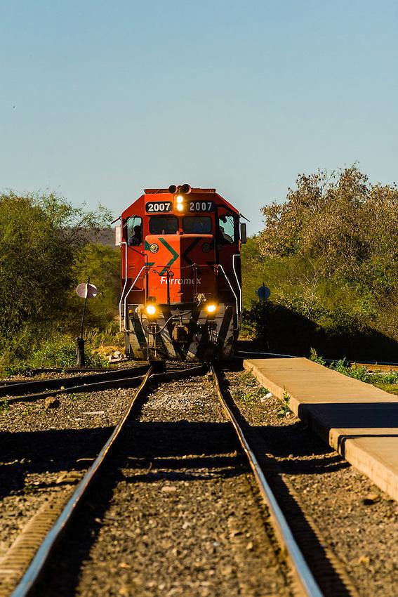 Chihuahua al Pacifico Railroad train arriving at El Fuerte, Mexico