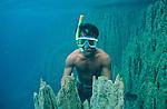 Ile de Coron dans l'archipel de Calamian. Philippines.Plongée dans les eaux translucides du lac Barracuda.