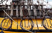 Nederland - Zaandam- 2020.  Het Russische schip de Shtandart. Het schip is een replica van het schip dat tsaar Peter de Grote in 1703 in Sint Petersburg liet bouwen na zijn bezoek aan Zaandam. Het touwwerk.  Foto ANP / Hollandse Hoogte / Berlinda van Dam