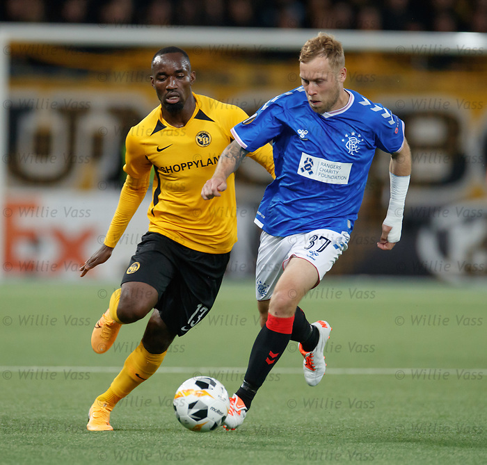 03.10.2019 Young Boys of Bern v Rangers: Scott Arfield and Nicolas Moumi Ngmaleu