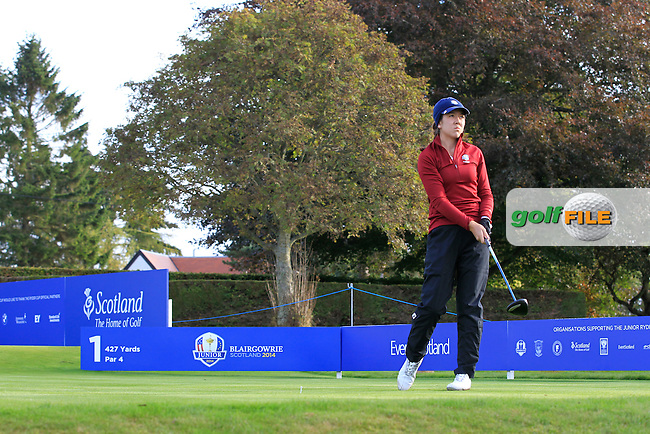 Hannah O'Sullivan (USA) on the 1st tee during Day 2 Singles for the Junior Ryder Cup 2014 at Blairgowrie Golf Club on Tuesday 23rd September 2014.<br /> Picture:  Thos Caffrey / www.golffile.ie