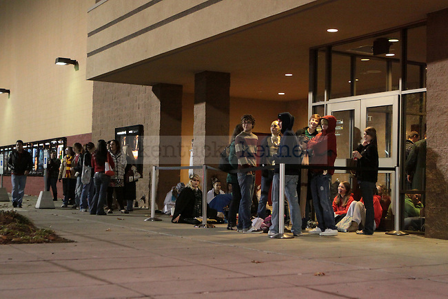 Harry Potter fans line up outside the Cinemark Fayette Mall movie theatre hours before the midnight premier of the latest Harry Potter film. Photo by Scott Hannigan   Staff