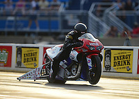 Jun. 29, 2012; Joliet, IL, USA: NHRA pro stock motorcycle rider Wesley Wells during qualifying for the Route 66 Nationals at Route 66 Raceway. Mandatory Credit: Mark J. Rebilas-