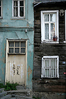 Old wooden houses in Cukurcuma, Istanbul, Turkey