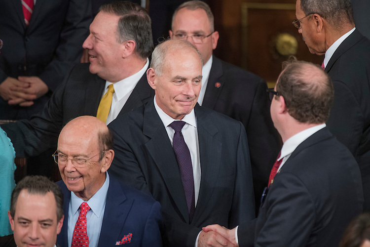 UNITED STATES - FEBRUARY 28: Homeland Secretary John Kelly arrives in the House Chamber before President Donald Trump addressed a joint session of Congress in the Capitol, February 28, 2017. (Photo By Tom Williams/CQ Roll Call)