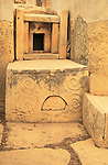 Tarxien neolithic megalithic prehistoric temple complex site, Malta - altar carvings stonework