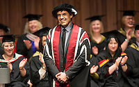 Pictured: Chris Coleman during the honorary degree presentation by Swansea University. Wednesday 11 January 2017<br /> Re: Chris Coleman OBE, who was born and raised in Swansea, and who led the Wales national football team to the semi-finals of Euro 2016, has today been awarded an Honorary Degree from Swansea University.<br /> Mr Coleman was presented with the MSc (Master of Science) award today (Wednesday 11 January) at Swansea University's Great Hall by Mr Raymond Ciborowski, Registrar of Swansea University during the degree ceremony for the College of Human and Health Sciences.