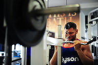 Jeff Williams of Bath Rugby in the gym. Bath Rugby pre-season training on June 21, 2016 at Farleigh House in Bath, England. Photo by: Patrick Khachfe / Onside Images