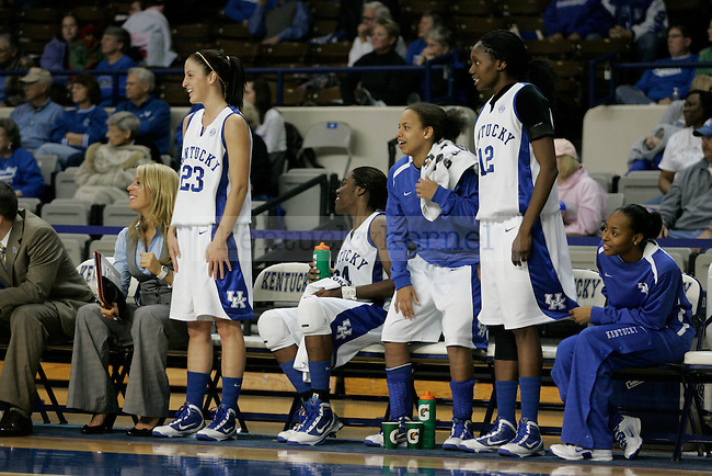 The UK Women's Basketball team cheers on their teammates in the last seconds against Miami (OH) in Memorial Coliseum on Tuesday, Nov. 1st, 2009. The Cats beat the Redhawks 107-53. Photo by Scott Hannigan | Staff.
