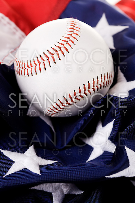 Series about baseball.  With American flag, isolated, baseball gloves and other props.