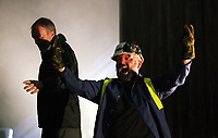 "Pictured: Actors Ioan Hefin and Jason May perform a dance scene<br /> Re: Press rehearsal of ""We'Re Still Here"", a play created by Rachel Trezise, Common Wealth and the National Theatre Wales about steelworkers, which will be performed in Byass Works, a disused industrial unit, in Port Talbot, south Wales, UK."