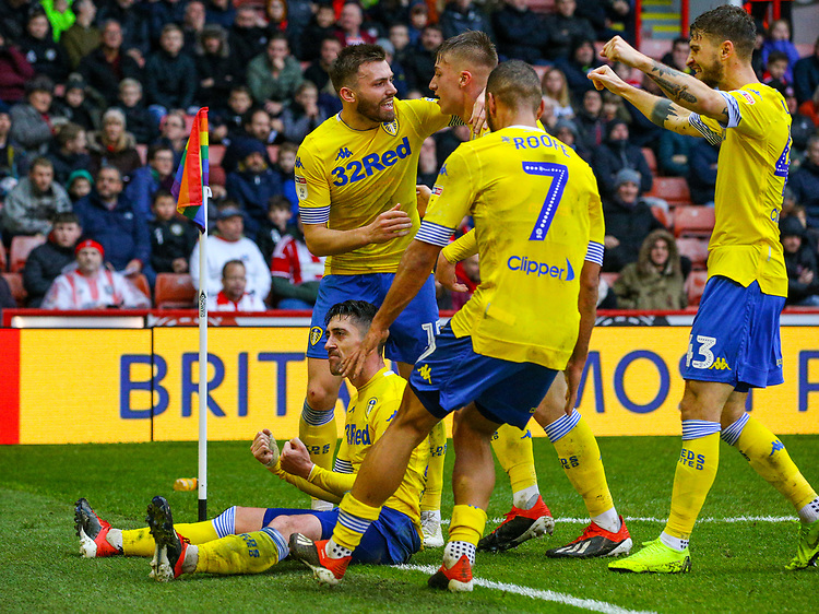 Leeds United's Pablo Hernandez celebrates scoring the opening goal with teammates<br /> <br /> Photographer Alex Dodd/CameraSport<br /> <br /> The EFL Sky Bet Championship - Sheffield United v Leeds United - Saturday 1st December 2018 - Bramall Lane - Sheffield<br /> <br /> World Copyright © 2018 CameraSport. All rights reserved. 43 Linden Ave. Countesthorpe. Leicester. England. LE8 5PG - Tel: +44 (0) 116 277 4147 - admin@camerasport.com - www.camerasport.com