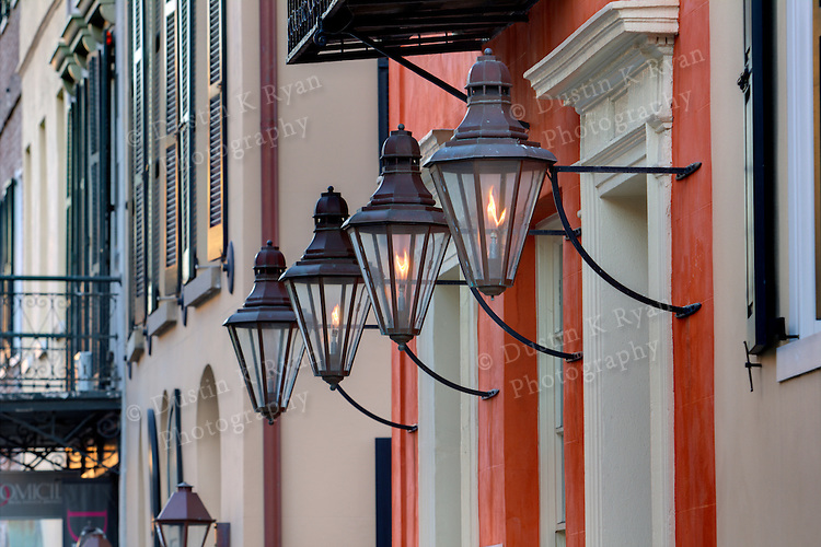 Copper Gas Lamps adorn the front of a historic building in Charleston South Carolina