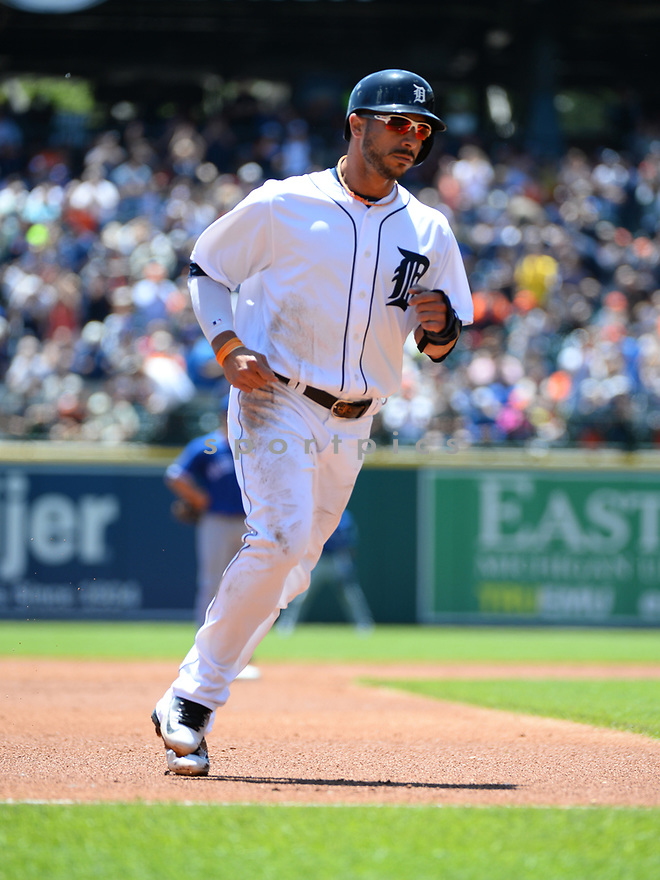 Detroit Tigers Mike Aviles (14) during a game against the Toronto Blue Jays on June 8, 2016 at Comerica Park in Detroit MI. The Blue Jays beat the Tigers 7-2.