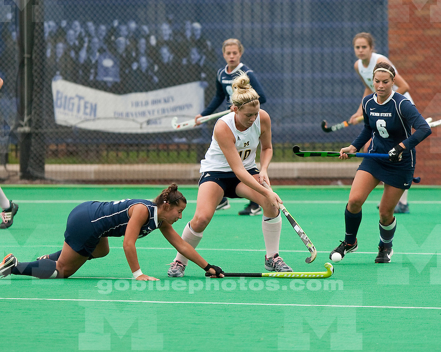 The University of Michigan field hockey team shut out No. 6 Penn State University 2-0 at Ocker Field in Ann Arbor, Mich., on October 16, 2011.