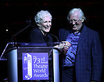 Glenn Close and Len Cariou on stage at the 73rd Annual Theatre World Awards at The Imperial Theatre on June 5, 2017 in New York City.