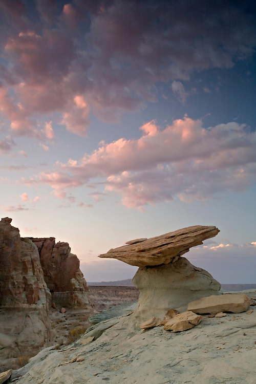 Dusk falls on the sandstone hoodoos near Ferry Swale on the Colorado Plateau