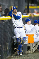 Burlington Royals catcher Sebastian Rivero (3) watches the action from the bullpen during the game against the Danville Braves at Burlington Athletic Stadium on August 12, 2017 in Burlington, North Carolina.  The Braves defeated the Royals 5-3.  (Brian Westerholt/Four Seam Images)