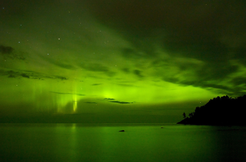 The Northern Lights captured over Lake Superior. Marquette, MI