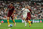 Real Madrid's Mariano Diaz and AS Roma's Federico Fazio (L) and Daniele De Rossi (R) during Champions League match. September 19, 2018. (ALTERPHOTOS/A. Perez Meca)