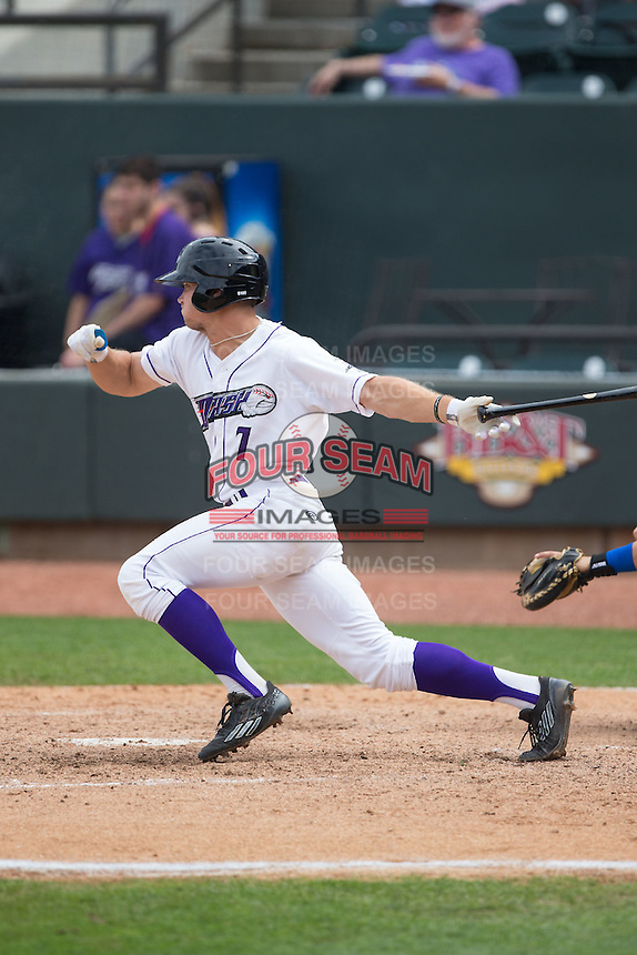 Adam Engel (7) of the Winston-Salem Dash follows through on his swing against the Myrtle Beach Pelicans at BB&T Ballpark on May 10, 2015 in Winston-Salem, North Carolina.  The Pelicans defeated the Dash 4-3.  (Brian Westerholt/Four Seam Images)