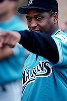 Terry Pendleton of the Florida Marlins at Dodger Stadium in Los Angeles,California during the 1996 season. (Larry Goren/Four Seam Images)