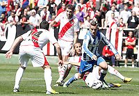 Rayo Vallecano's Anaitz Arbilla (l), Roberto Trashorras (2l) and Alejandro Galvez (c) and Real Sociedad's Antoine Griezman during La Liga match.April 14,2013. (ALTERPHOTOS/Acero)