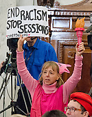 Medea Benjamin, founder of Code Pink protests prior to the United States Senate Judiciary Committee confirmation hearing on the nomination of US Senator Jeff Sessions (Republican of Alabama) to be Attorney General of the United States on Capitol Hill in Washington, DC on Tuesday, January 10, 2017.<br /> Credit: Ron Sachs / CNP