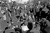 "Jewish groups from around the country sit-in on the Washington, DC streets to protest the treatment of Soviet Jews in Russia on March 21, 1971.  More than 680 people were arrested after police attempted to clear the streets.  After the sit-in members of the Jewish Defense League (JDL) moved to the Elllipse for speches and told the demonstrators ""President Nixon will have to change his policy if enough Jews show themselves willing to sacrifice.""<br /> Credit: Len Owens / CNP"