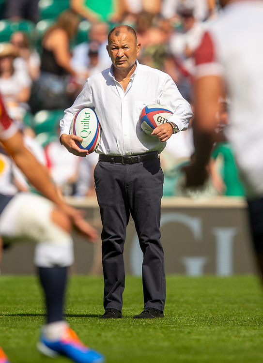 England's Head Coach Eddie Jones<br /> <br /> Photographer Bob Bradford/CameraSport<br /> <br /> Quilter Internationals - England v Ireland - Saturday August 24th 2019 - Twickenham Stadium - London<br /> <br /> World Copyright © 2019 CameraSport. All rights reserved. 43 Linden Ave. Countesthorpe. Leicester. England. LE8 5PG - Tel: +44 (0) 116 277 4147 - admin@camerasport.com - www.camerasport.com